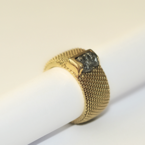 Bague AUDREY Tresse Or Diamant brut